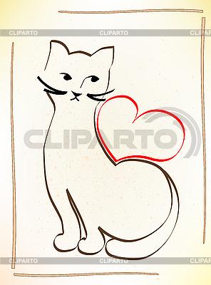 Kot czeka na twoją miłość | Klipart wektorowy |ID 3082022