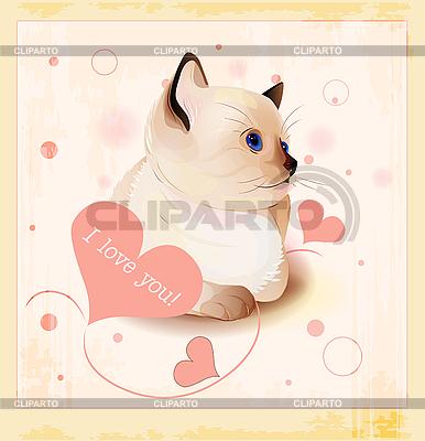 Valentinstagkarte mit kleiner Katze und Herzen | Stock Vektorgrafik |ID 3082386
