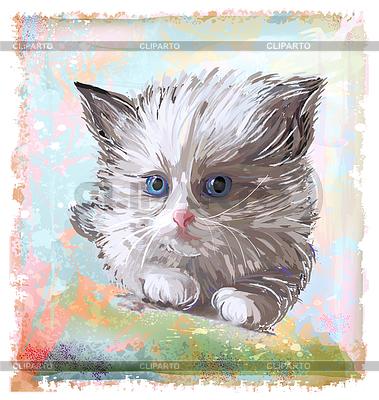Hand gezeichnete porträt des flauschigen kätzchen mit blauen augen
