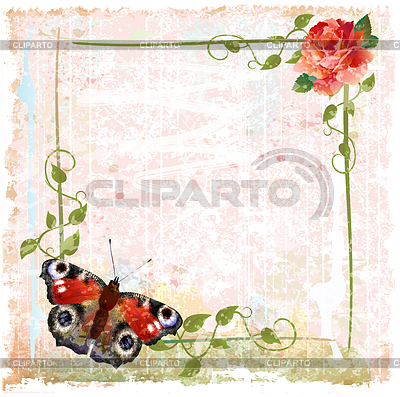 Vintage background with red roses, ivy and butterfly | Klipart wektorowy |ID 3293720