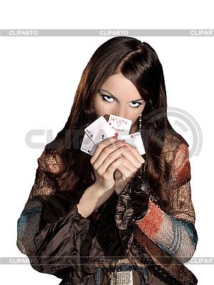 Frau mit Spielkarten | Foto mit hoher Auflösung |ID 3049764