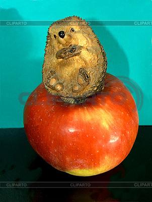 Jeż na jabłko | Foto stockowe wysokiej rozdzielczości |ID 3064004