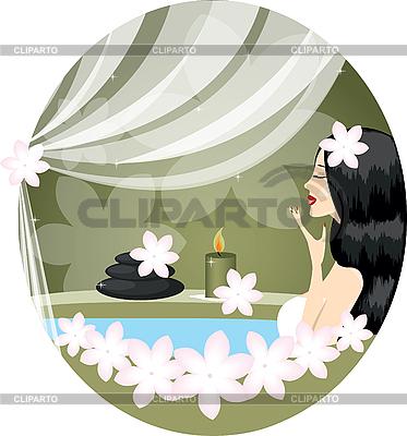 Junge Frau mit weißen Blumen | Stock Vektorgrafik |ID 3047100