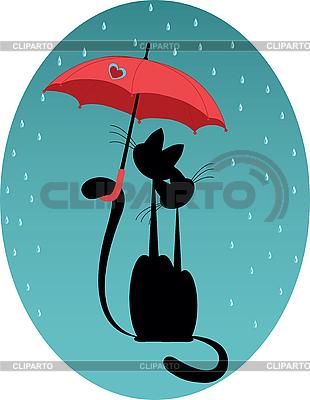우산 아래 고양이 | 벡터 클립 아트 |ID 3047266