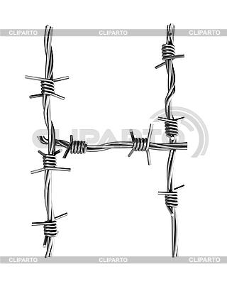 Stacheldraht-Buchstabe H | Illustration mit hoher Auflösung |ID 3047883