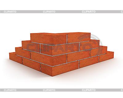 Угол стены из красного кирпича | Иллюстрация большого размера |ID 3047948