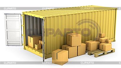 黄色打开容器,很多纸箱 | 高分辨率插图 |ID 3048007
