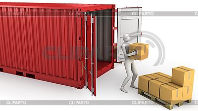 Рабочий разгружает контейнер | Иллюстрация большого размера |ID 3048014