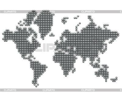 Карта мира из серебряных шариков | Иллюстрация большого размера |ID 3048017