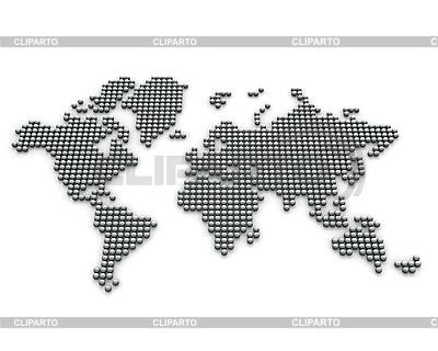 Карта мира из серебряных шариков | Иллюстрация большого размера |ID 3048018