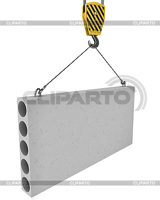 Crane hakowce się płyty betonowej | Stockowa ilustracja wysokiej rozdzielczości |ID 3048026