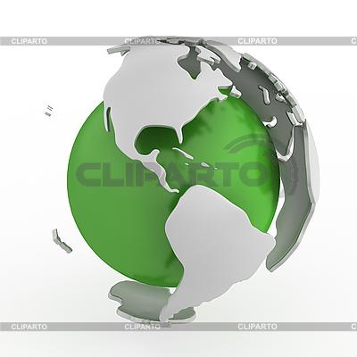 Abstrakte grüne Weltkugel mit Amerika | Illustration mit hoher Auflösung |ID 3048071