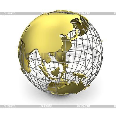 Goldener Globus mit Asien | Illustration mit hoher Auflösung |ID 3048072