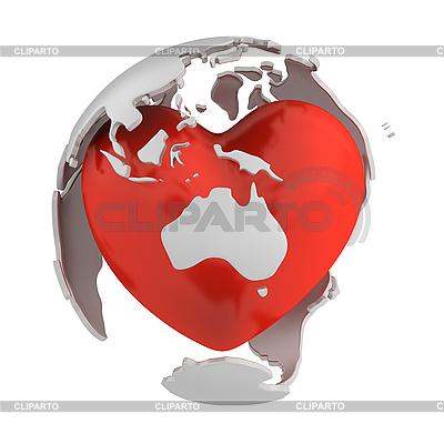 Globus mit Herz, Australien | Illustration mit hoher Auflösung |ID 3048077
