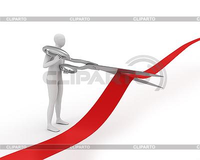 3D человечек разрезает большими ножницами красную ленту | Иллюстрация большого размера |ID 3048136