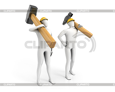 Zwei Männer mit riesigen Vorschlaghammer und Hammer | Illustration mit hoher Auflösung |ID 3048142