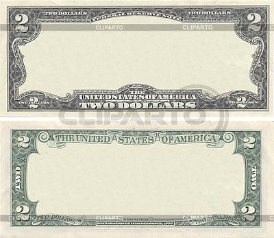 Leere Vorlage der 2-Dollar-Banknote für Design-Zwecke | Foto mit hoher Auflösung |ID 3126991