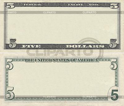 Leere Vorlage der 5-Dollar-Banknote für Design-Zwecke | Foto mit hoher Auflösung |ID 3126992