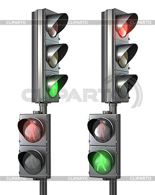 Zestaw dla pieszych światła światła z lampy i iść pieszo | Stockowa ilustracja wysokiej rozdzielczości |ID 3174759