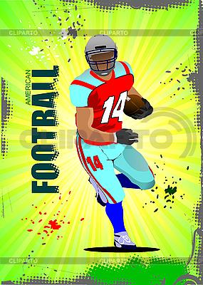 Poster mit amerikanischem Fußballspieler | Stock Vektorgrafik |ID 3047701