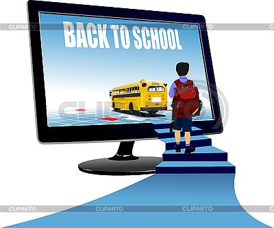 Schüler, Monitor und Schulbus | Stock Vektorgrafik |ID 3048302