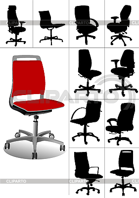 Zestaw krzeseł biurowych | Klipart wektorowy |ID 3048373
