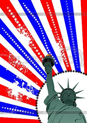 American flag i Statua Wolności | Klipart wektorowy |ID 3048443