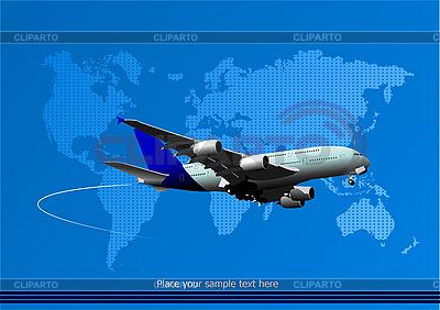 Passagierflugzeug und Weltkarte | Stock Vektorgrafik |ID 3048466