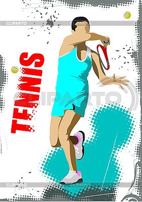 Poster mit Tennis-Spieler | Stock Vektorgrafik |ID 3048584