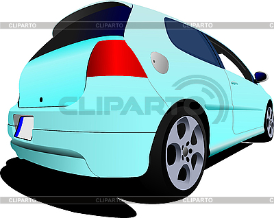Dreitüriges hellblaues Auto | Stock Vektorgrafik |ID 3048670