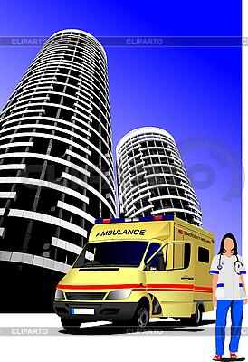 Ambulanz-Auto und Krankenpfleger in der Stadt | Stock Vektorgrafik |ID 3048800