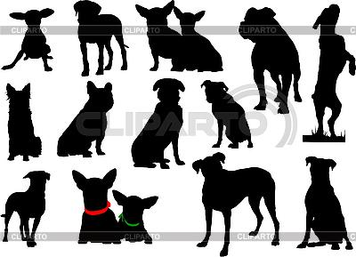 Zestaw sylwetki psów | Klipart wektorowy |ID 3049978
