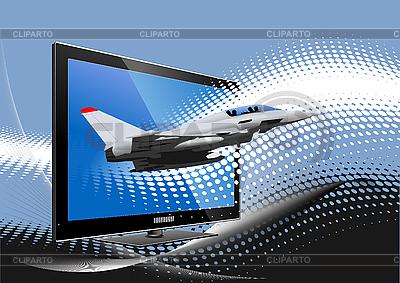 电脑显示器军用飞机 | 向量插图 |ID 3070058
