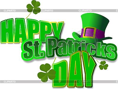 Grüner Hut und Kleeblätter für St. Patricks Day | Stock Vektorgrafik |ID 3070428
