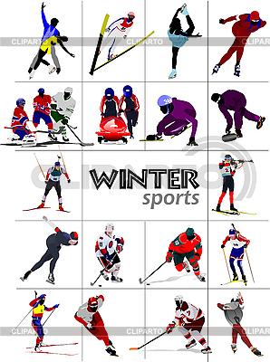 Зимние виды спорта векторный клипарт