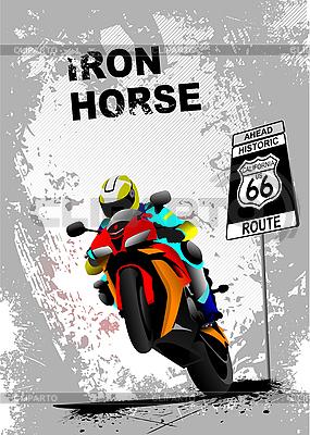Grunge szary plakat z motocykla | Klipart wektorowy |ID 3070470