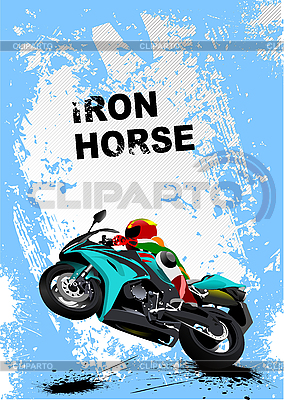 Синий гранж-постер с мотоциклом | Иллюстрация большого размера |ID 3136159