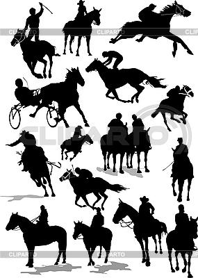 Wyścigi konne sylwetki | Klipart wektorowy |ID 3175130