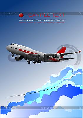 Poster mit Passagierflugzeug | Stock Vektorgrafik |ID 3175266