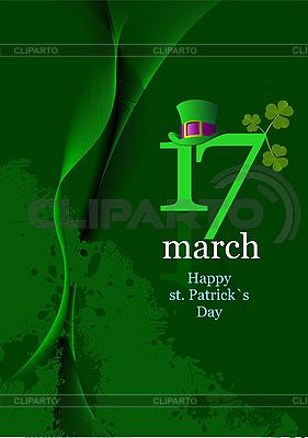 Зеленые шляпы и клевер в День св. Патрика Векторный клипарт ID 3175352.