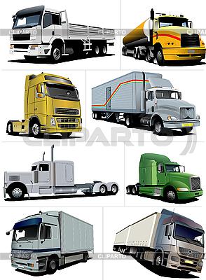 Восемь грузовиков | Векторный клипарт |ID 3175445
