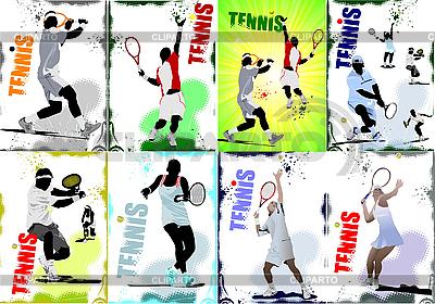 Plakat mit Tennis-Spielern | Stock Vektorgrafik |ID 3175479