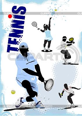 Tenis gracze plakat | Stockowa ilustracja wysokiej rozdzielczości |ID 3181311