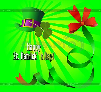 Зеленая шляпа и клевер на День св. Патрика Векторный клипарт ID 3183141.