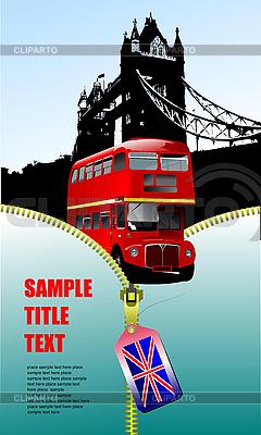 Plakat z zamkiem błyskawicznym i piętrowy autobus | Klipart wektorowy |ID 3209863