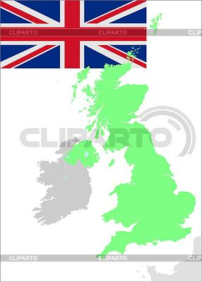 Wielka Brytania flaga i mapa | Klipart wektorowy |ID 3382176