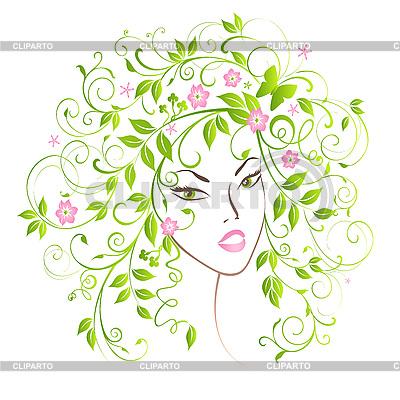Hübsches Mädchen mit Blumen-Haar | Stock Vektorgrafik |ID 3051446