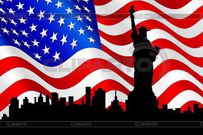 Amerikanische Flagge und die Freiheitsstatue | Stock Vektorgrafik |ID 3051470