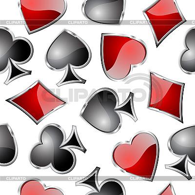 扑克牌符号的无缝的模式 | 向量插图 |ID 3051496