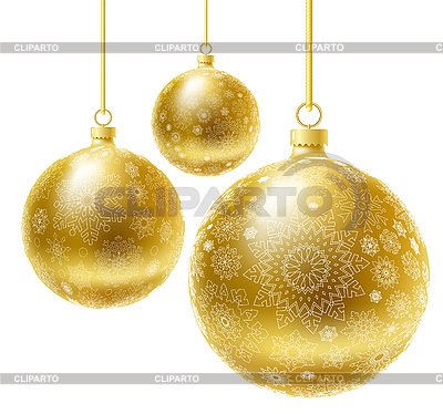 金色圣诞球 | 向量插图 |ID 3073437